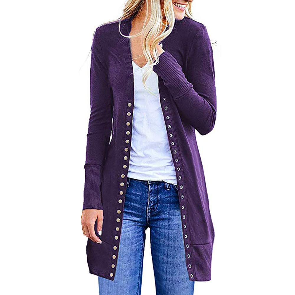 Cardigans for Womens Chaofanjiancai Long Sleeve Solid Snap Button Down Knit Ribbed Neckline Coat Purple by Chaofanjiancai_Coat