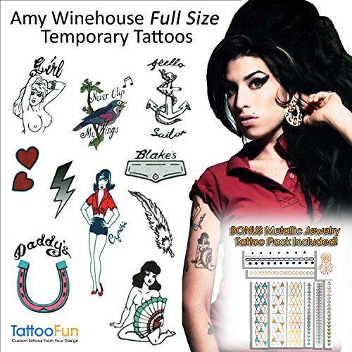Amy Winehouse Temporary Tattoos and Wig Halloween Costume & BONUS Flash Tattoo Bonus Pack