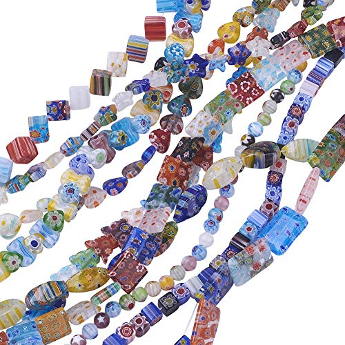 PH PandaHall 10 Strands Assorted Styles Millefiori Lampwork Glass Beads Loose Spacer Bead for Jewelry Making 15