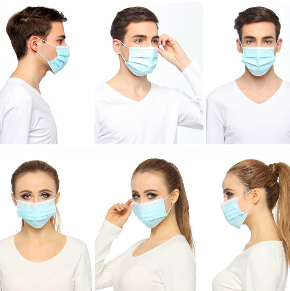 Disposable Earloop Face Masks -60 Count 3-Ply Filter Mask FDA Approved Dental Surgical Hypoallergenic Breathability Comfort-Great