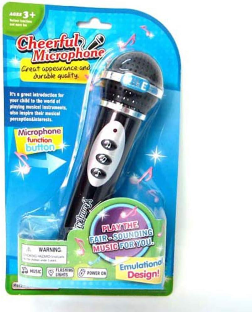 Vektenxi Fashion Girls Boys Microphone Mic Karaoke Singing Kids Funny Gift Music Toy Black Durable and Useful