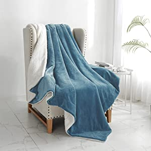 """Walensee Sherpa Fleece Blanket (Queen Size 90""""x90"""" Slate Blue) Plush Throw Fuzzy Super Soft Reversible Microfiber Flannel Blankets for Couch, Bed, Sofa Ultra Luxurious Warm and Cozy for All Seasons"""