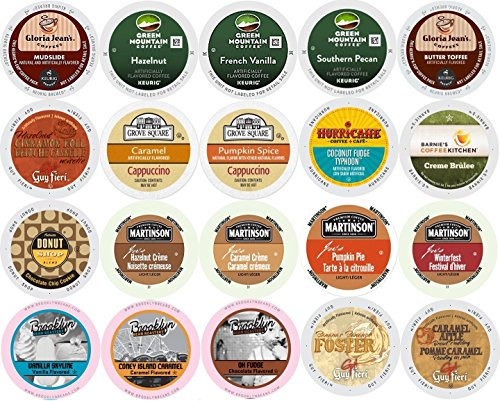 20-count K-cup for Keurig Brewers ALL FLAVORED Coffee Variety Pack Featuring Green Mountain, Gloria Jean's, Donut House, Grove Square Cappuccino, Authentic Donut House, Barnie's Coffee Kitchen, Hurricane, Martinson, Brooklyn Bean & Guy Fieri (Gloria Jeans Cappuccino K Cups compare prices)