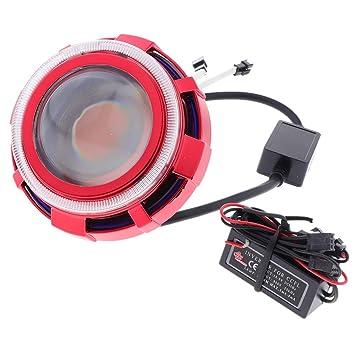 kesoto Motocicleta Hi/Low Beam Proyector LED Faros Angel Eye ...