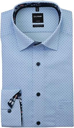OLYMP Luxor - Camisa de manga larga con bolsillo en el pecho, diseño de lunares, color azul