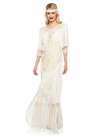 Glam Vintage Inspired Fringe Flapper Maxi Dress in Cream (US4 EU36)