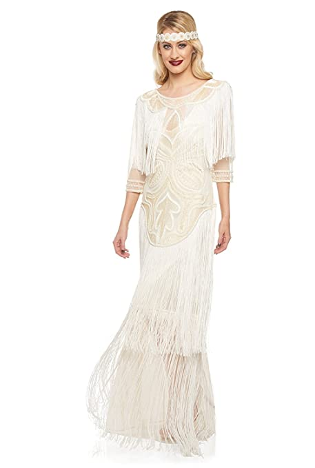 1920s Dresses UK | Flapper, Gatsby, Downton Abbey Dress Glam Vintage Inspired Fringe Flapper Maxi Dress in Cream £169.00 AT vintagedancer.com