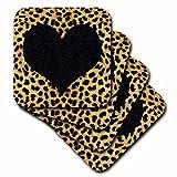 3dRose LLC cst_20394_1 Punk Rockabilly Cheetah Animal Print Black Heart Soft Coasters, Set of 4