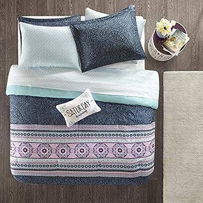 Intelligent Design Gemma Comforter Set Twin Size Bed in A Bag - Teal, Medallion Paisley – 7 Piece Bed Sets – Ultra Soft Microfiber Teen Bedding for Girls Bedroom: Home & Kitchen