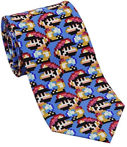 Josh Bach Mens Pixelated Plumber Video Game Silk Necktie, Made in - Tie Pixelated