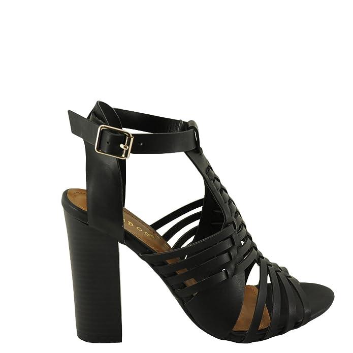 49e5ab89a6 Amazon.com | BAMBOO Stash-02V Women's Woven Strappy Chunky Heel Sandal (6,  Black BNH) | Heeled Sandals