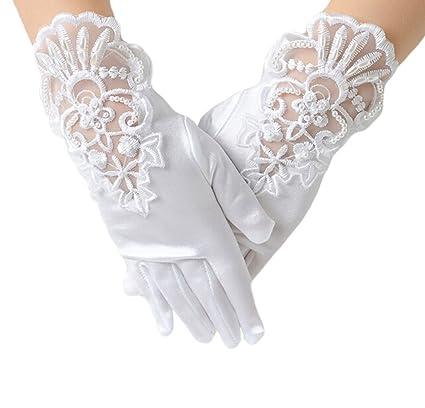 Holy Communion Flower Girls Wedding Pageant Diamanté Cross Gloves Veil Size L