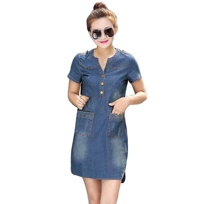 EINCcm Plus Size Denim Dress for Women, v-Neck Button Decor Pocket Short  Sleeve Dress Summer Casual Dress Shift Dress