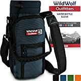 Wild Wolf Outfitters Water Bottle Holder for 40oz Bottles by Blue - Carry, Protect and Insulate Your Best Flask with This Military Grade Carrier w/2 Pockets & an Adjustable Padded Shoulder Strap.
