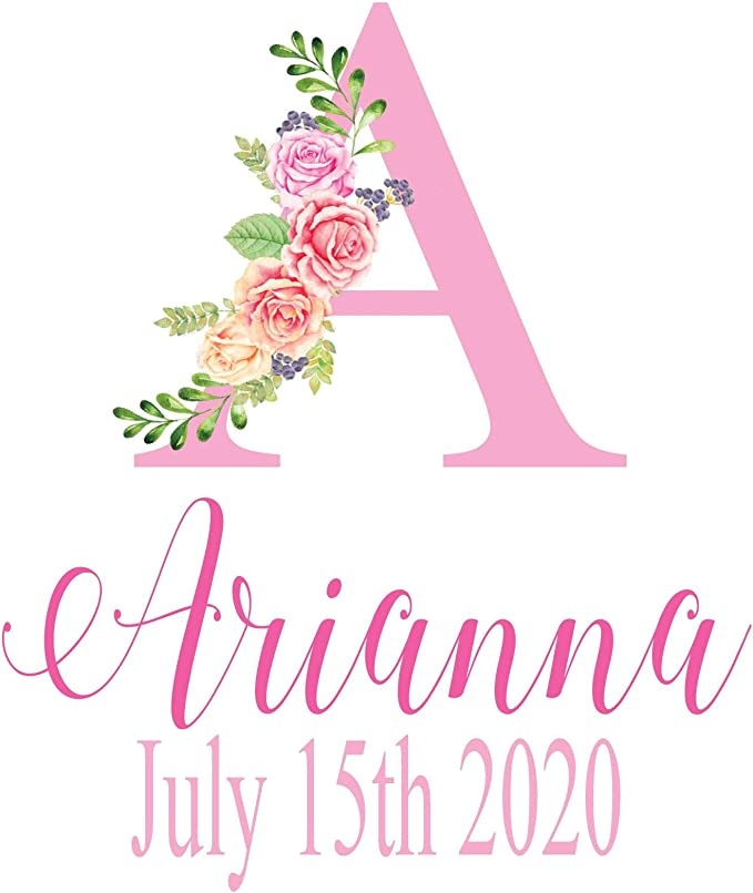 INSTANT DOWNLOAD #002M-A Baby Shower Gift Personalized Gift Family Name Print Baby Name Art Navy Floral A Monogram 1st Anniversary