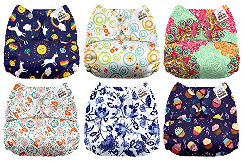 Mama Koala One Size Baby Washable Reusable Pocket Cloth Diapers, 6 Pack with 6 One Size Microfiber Inserts (Little Miss Perfect) ()