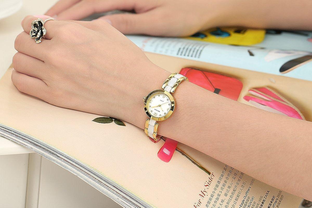 Kashidun de las mujeres reloj de pulsera diamante Dial reloj de pulsera de cerámica color blanco reloj de alta tecnología. zq2-j: Amazon.es: Relojes