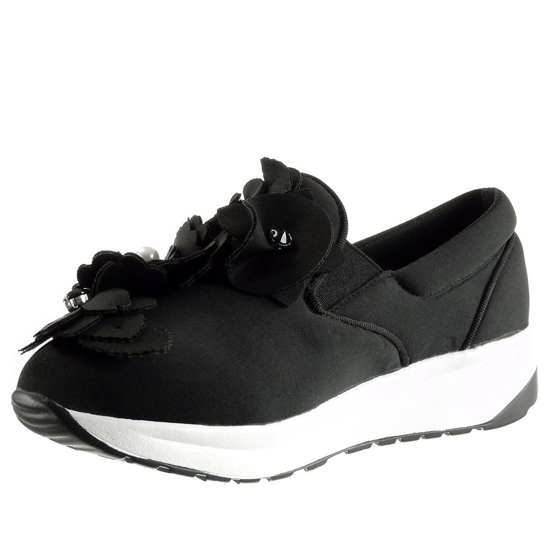 Angkorly - damen Schuhe Sneaker - Slip-On - Plateauschuhe - Blumen - Perle  - Strass Keilabsatz 3 CM: Amazon.de: Schuhe & Handtaschen