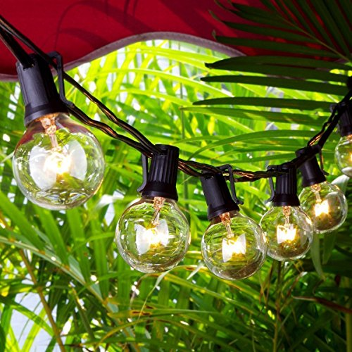 Escolite Outdoor String Light With G40 Clear Globe Bulbs