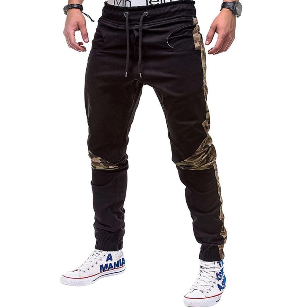 vermers Clearance Fashion Men's Pants Sport Joint Lashing Belts Casual Loose Sweatpants Drawstring Trousers(L, Black)