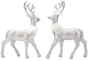 ARCCI Reindeer Decorations Standing Christmas Figurines Deer, Silver Glitter Holiday Reindeer (Silver)