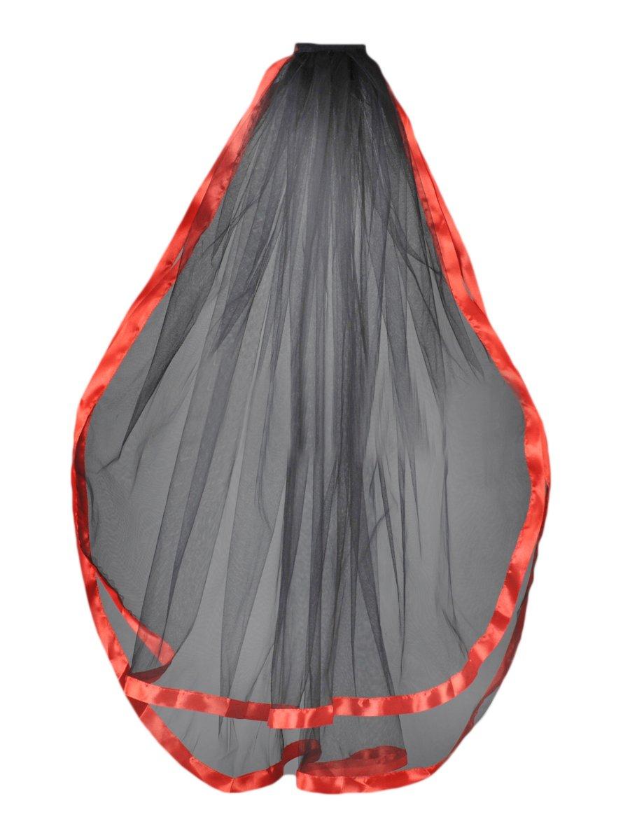 Dobelove Women's 2T Ribbon Edge 30'' Wedding Veil (red)