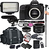 Canon EOS 6D Mark II 26.2 MP CMOS DSLR Camera with EF 50mm F/1.8 STM Prime Lens, Filters, Lens Hood, Monopod, 128GB Memory, Led Video Light, Microphone, Canon Case, Extra Battery & Charger