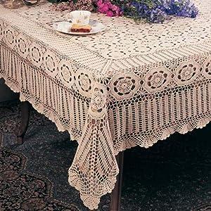 Superior Handmade Crochet Lace Tablecloth. 100% Cotton Crochet. Ecru, 90 Inch Round.  One Piece .