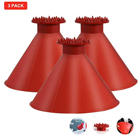 Car Snow Removal Shovel FEBSNOW Round Windshield Ice Scrapers 2 Pack Magic Cone-Shaped Car Windshield Ice Scrapers