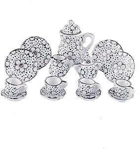 NW 1 Set 15 Pieces Ceramics Tea Cup Set Lovely Dollhouse Decoration Set Dollhouse Kitchen Accessories (#5)