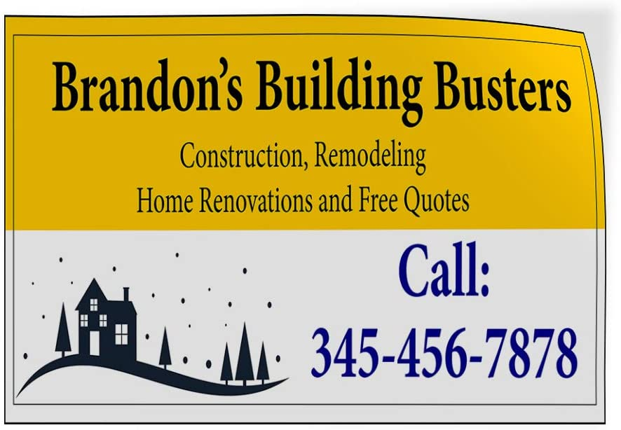 Custom Door Decals Vinyl Stickers Multiple Sizes Name Building Busters Phone Number Industrial /& Craft Construction Outdoor Luggage /& Bumper Stickers for Cars Yellow 52X34Inches Set of 2