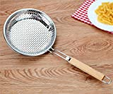 Stainless Steel Skimmer Spoon/Strainer Ladle - Cooking Spoon Strainer Soups Pasta - 17.3 Inch Long 8 inch Dia (Large),Wood Handle