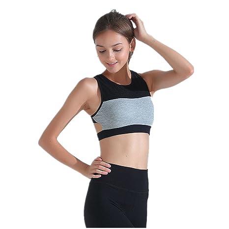 Yamyannie Mujer Bralette Top Sujetador de Yoga Sujetador de Malla de Malla de Humedad Que Absorbe