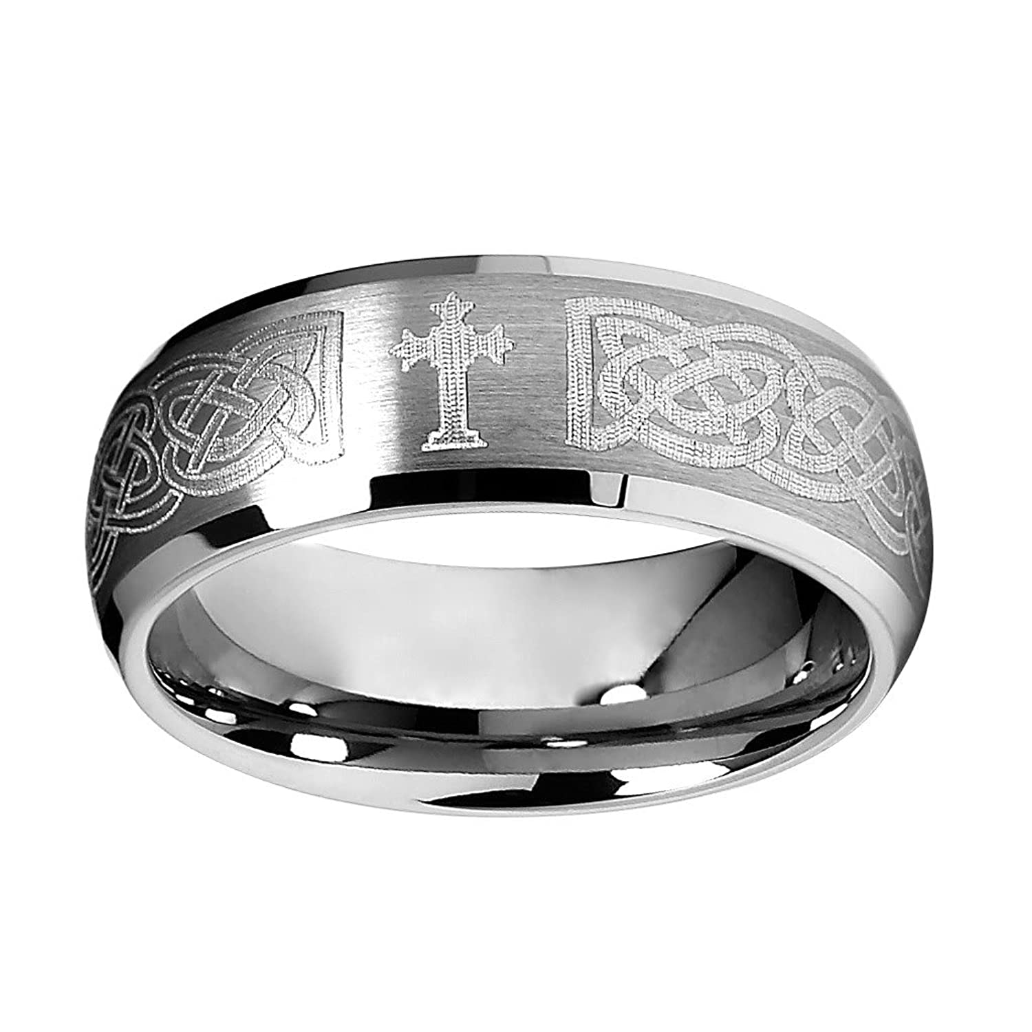 8mm Braid Pattern Laser Engraved Celtic Design Men s Tungsten