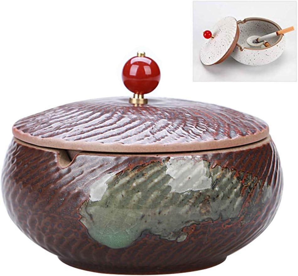 Ceramic Mekta Exquisite Ceramic Ashtray Retro Ashtray Creative Outdoor Ceramic Ashtray with Lid Cigar Ashtray Ashtray for Home and Office a 10.5 * 10.5 * 9cm