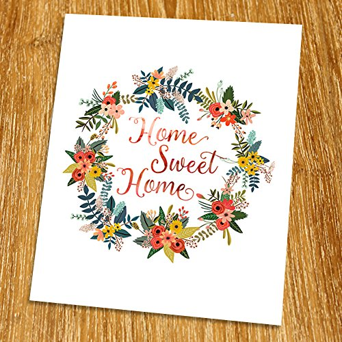 Home sweet home Print (Unframed), Watercolor Flower, Floral Quote, Inspirational Quote, Home Decor, Calligraphy Quote, 8x10