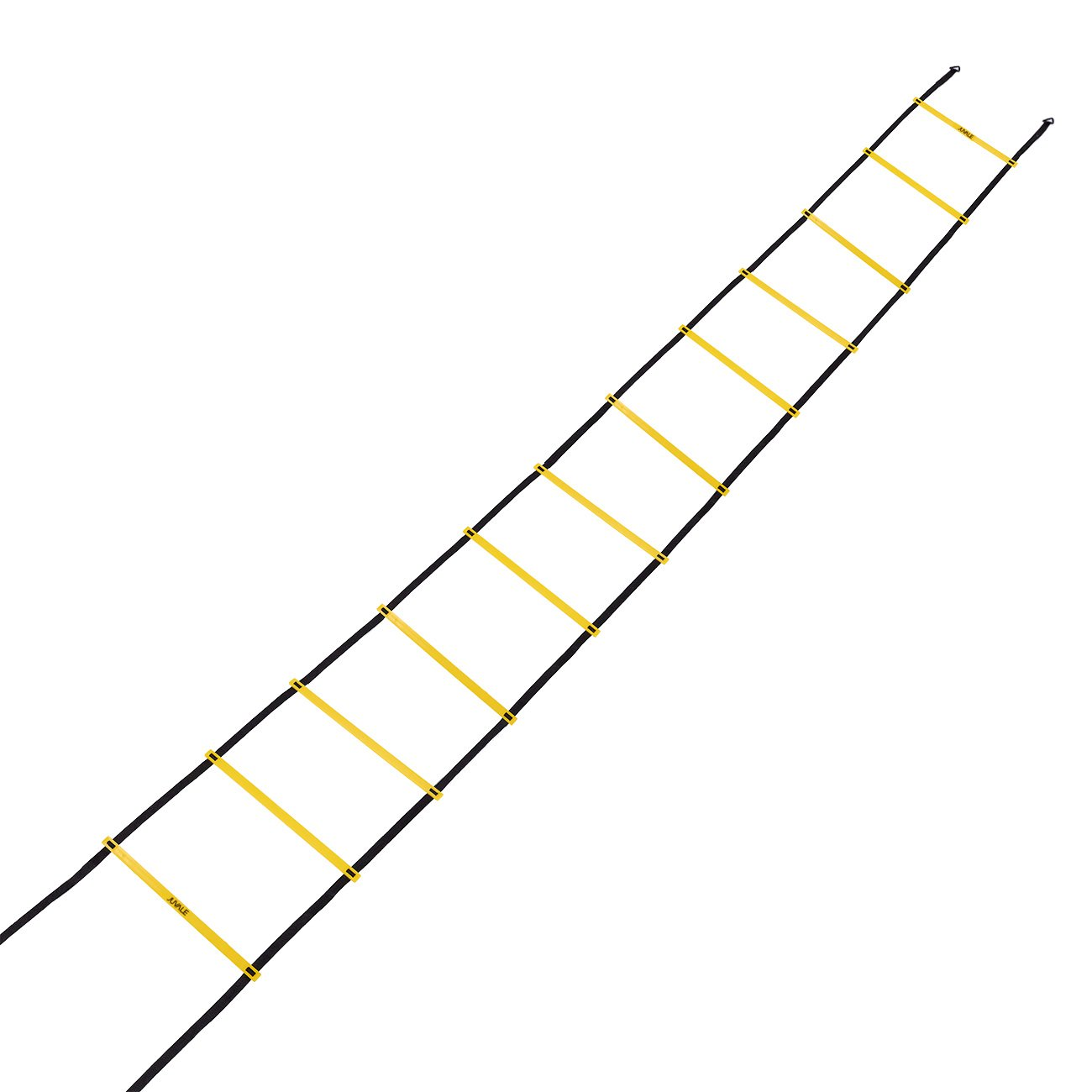 Speed and Agility Training Set - Includes Agility Ladder, 6 Disc Cones, Resistance Parachute, 4 Steel Stakes and a Drawstring Bag - For Speed, Coordination, Footwork, Explosiveness, Black, Yellow by Juvale (Image #2)