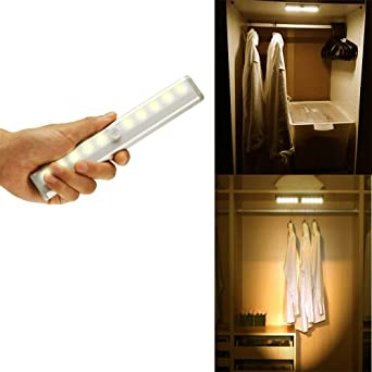 Brilliant Stick On Portable Wireless Motion Sensor Under Cabinet Lights 10 Led Motion Activated Night Light Magnetic Tape Lights For Closet Cabinet Yellow Download Free Architecture Designs Lukepmadebymaigaardcom