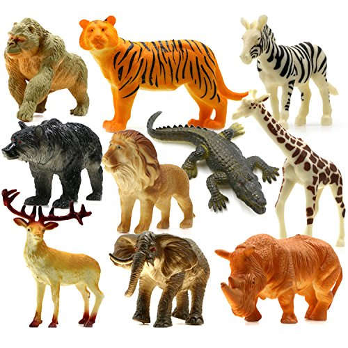 UGGL Animals Figure, 5 inches Jungle Animals Toys Set, 10 Pieces Plastic Animals Action Figure Toys Set, Forest Animals Toys Playset, Realistic Wild Animal, Eduactional Toys For Kids Toddler (Figure Plastic Set)