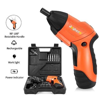 Gblife atornillador electrónico,Destornillador recargable inalámbrico MAX Torque 4N Batería de ión de litio de 3.8 voltios con LED,brocas de ...