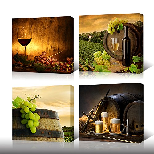 VVOVV Wall Decor - Grape Wine Canvas Wall Art Kitchen Decor Contemporary Artwork Giclee Prints Wine Barrel Bottle Pictures Photo 4 Panel Modern Still Life Wine Painting Bar Decoration
