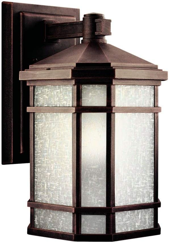 Kichler Lighting 9719PR Cameron - One Light Outdoor Wall Mount, Prairie Rock Finish with Etched Linen Glass