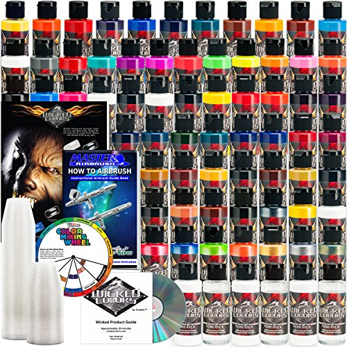 66 CREATEX Wicked Colors 2oz Complete Colors Airbrush Paint Set by Createx