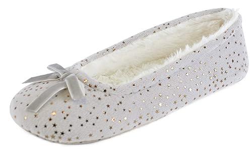 a1b18b91bedbc Slumberz Pantofole da Ballo Stelle d oro da Donna  Amazon.it  Scarpe e borse