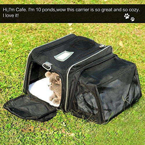 [해외]Fypo 확장형 캐리어 상자 고양이에 대 한 토끼 작은 강아지, 소프트 양면 이동식 양 털, 휴대용 핸드백 Tote 접는 지퍼 잠금 경우 공기/Fypo Expandable Carrier Crate for Cats Rabbits Small Puppies, Soft Sided With Removable Fleece, Portable...
