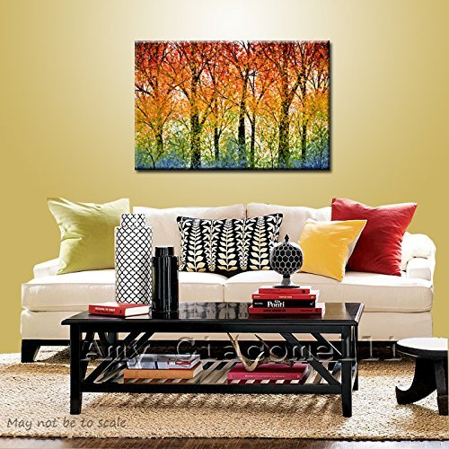 Rainbow Art Trees Wall Painting Landscape Original Large Modern