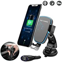 Fast Wireless Car Charger for iPhone X XS XR Max Techarooz Air Vent Mount Windshield Phone Holder Cradle for Samsung Galaxy S8 S9 Plus, S6 S7 Edge and Other Qi Devices with Car Power Adapter