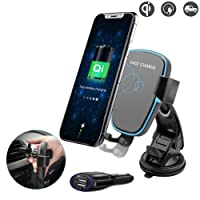 Fast Wireless Car Charger for iPhone X, Techarooz Air Vent Mount Windshield Phone Holder Cradle for Samsung Galaxy S8 S9 Plus, S6 S7 Edge and Other Qi Devices with Car Power Adapter