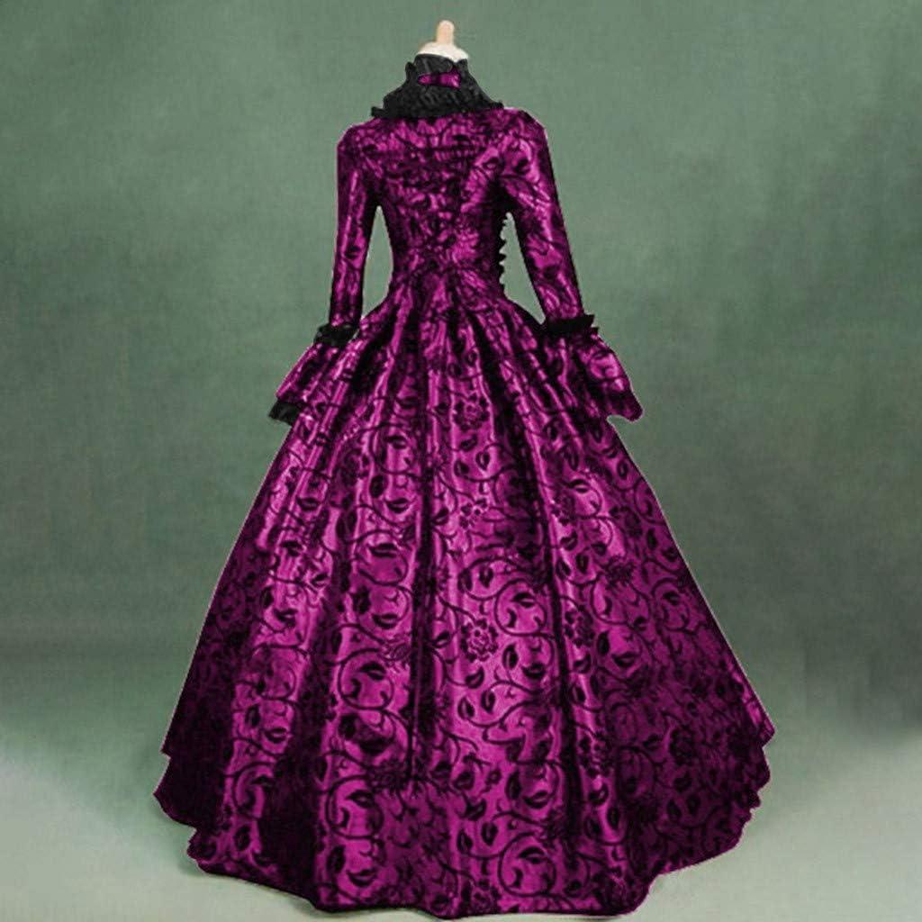 SALUCIA Damen Mittelalter Gothic Kleid Spitze Stickerei Trompeten/ärmel Bodenlanges Retro Kost/üm Gewand Renaissance Viktorianisches Prinzessin Kleidung Gr.34-48