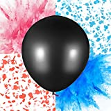 PROLOSO 36'' Gender Reveal Powder & Confetti Balloons for Baby Shower - Come with Pink and Blue Powder & Confetti